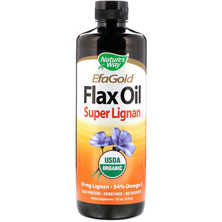 Nature's Way, Organic, EFAGold, Flax Oil, Super Lignan, 24 fl oz (705 ml)
