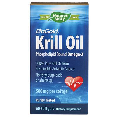 EfaGold, масло криля, 500 мг, 60 мягких капсул efagold мега дгк 1000 мг 60 мягких желатиновых капсул