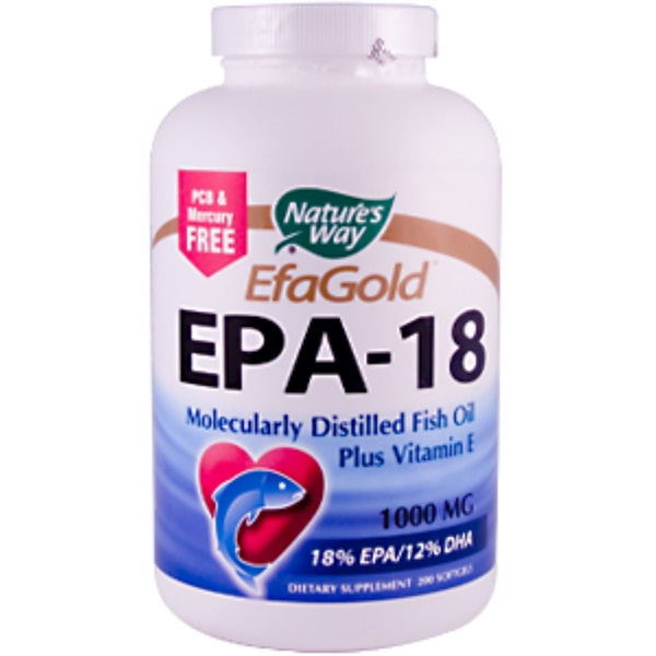 Nature's Way, EFA Gold, EPA-18, 1000 mg, 200 Softgels (Discontinued Item)