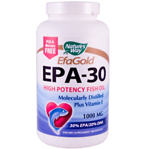 Nature's Way, EPA-30 plus Vitamin E, 1000 mg, 180 Softgels (Discontinued Item)