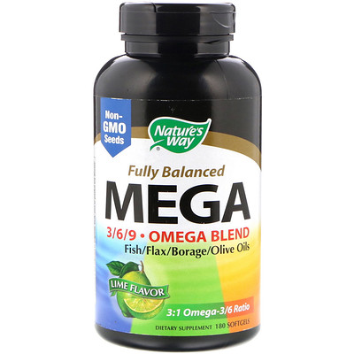 Fully Balanced Mega 3/6/9, Omega Blend, Lime Flavor, 180 Softgels
