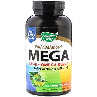 Nature's Way, Fully Balanced Mega 3/6/9, Omega Blend, Lime Flavor, 180 Softgels