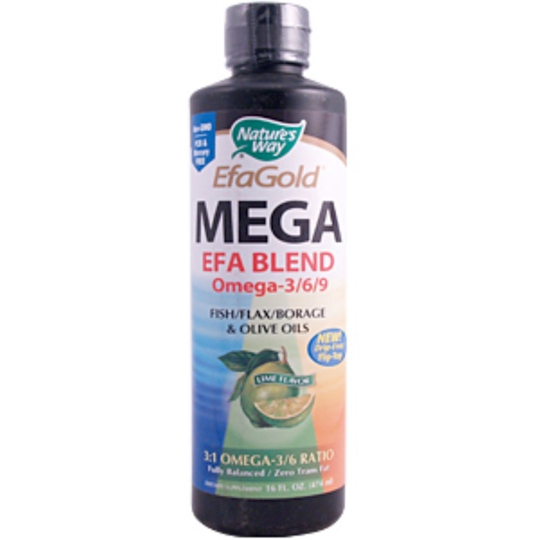 Nature's Way, Gold, Mega 3/6/9 Blend, Lime Flavor, 16 fl oz (474 ml) (Discontinued Item)