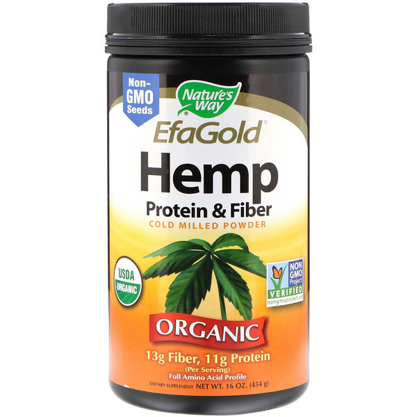 Nature's Way, Organic, EfaGold, Hemp Protein & Fiber, Cold Milled Powder, 16 oz (454 g)