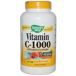 Nature's Way, 비타민 C-1000, 바이오 플라보노이드 함유, 250 캡슐