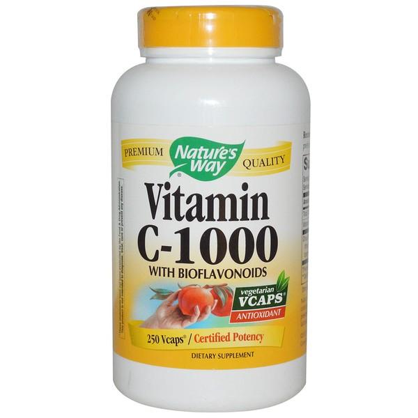 Nature's Way, Vitamin C-1000, With Bioflavonoids, 250 Veggie Caps