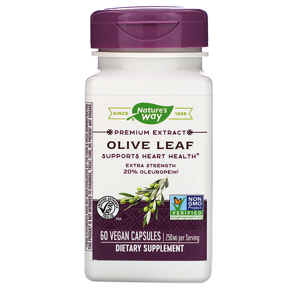 Nature's Way, Premium Extract, Olive Leaf, 250 mg, 60 Vegan Capsules