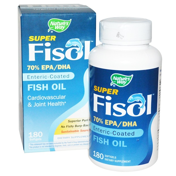 Nature's Way, 超級 Fisol,魚油,腸溶衣,180粒軟膠囊