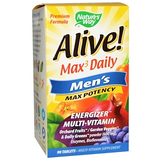 Nature's Way, Alive!, Max3 Daily, 남성용 최대 효능, 90 알