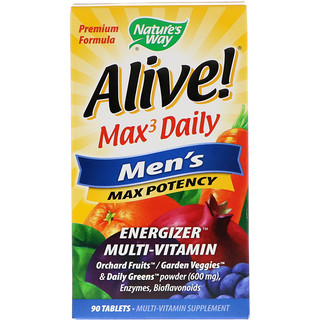 Nature's Way, Alive! Max3 Daily, Men's Multivitamin, 90 Tablets