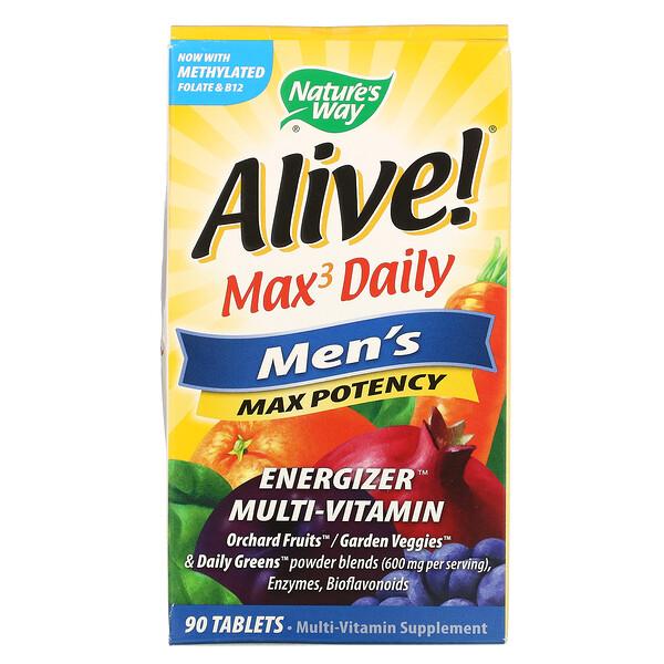 Nature's Way, Alive! Max3 Daily, מולטי-ויטמין לגברים, 90 טבליות