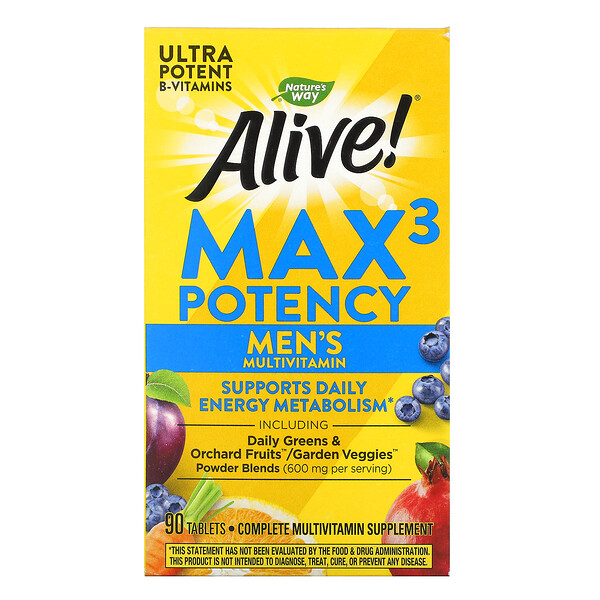 Nature's Way, Alive! Max3 Potency, Men's Multivitamin, 90 Tablets