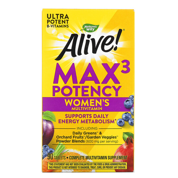 Alive! Max3 Potency, Women's Multivitamin, 90 Tablets