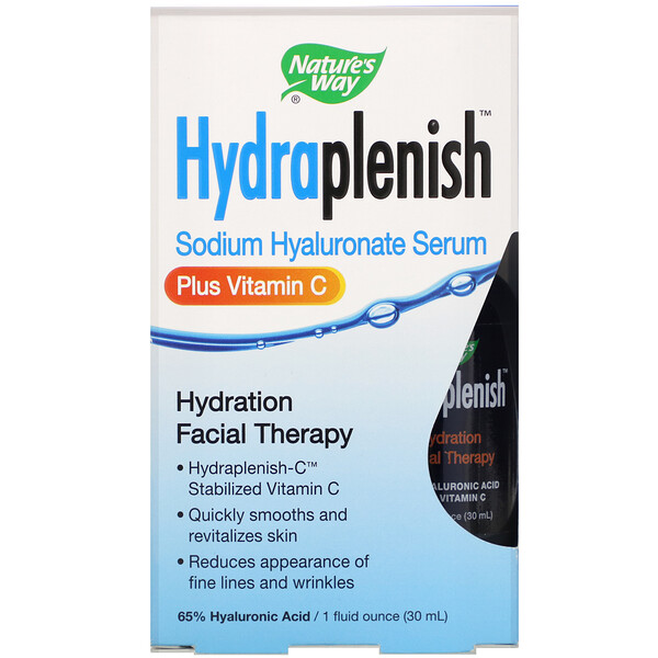 Hydraplenish, Sodium Hyaluronate Serum, Plus Vitamin C, 1 fl oz (30 ml)