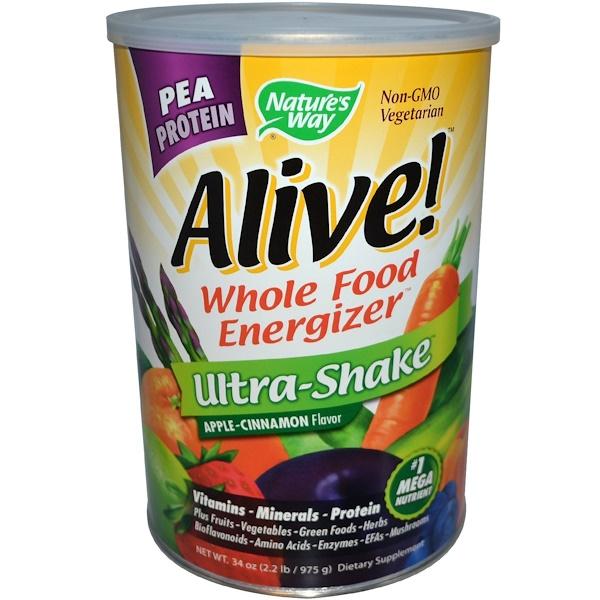 Nature's Way, Alive! Ultra-Shake Pea Protein, Apple-Cinnamon Flavor, 34 oz (2.2 lb/975 g) (Discontinued Item)