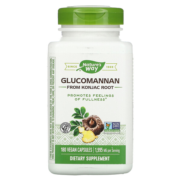 Nature's Way, Glucomannan from Konjac Root, 1,995 mg, 180 Vegan Capsules (Discontinued Item)