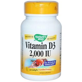 Nature's Way, Vitamin D3, 2,000 IU, 240 Softgels