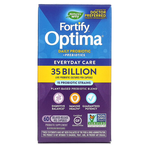Fortify Optima Daily Probiotic + Prebiotics, 35 Billion , 60 Delayed-Release Veg. Capsules