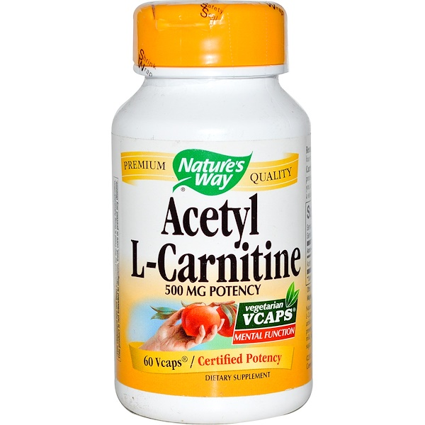 Nature's Way, Acetyl L-Carnitine, 500 mg, 60 Veggie Caps (Discontinued Item)