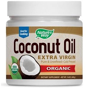 Nature's Way, Органическое кокосовое масло холодного отжима (Extra Virgin), 16 унций (454 г)