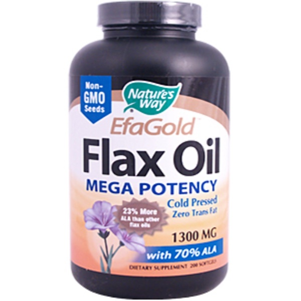 Nature's Way, Flax Oil, Mega Potency, 1300 mg, 200 Softgels (Discontinued Item)