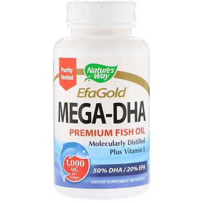 EfaGold, мега-ДГК, 1000 мг, 60 мягких желатиновых капсул efagold мега дгк 1000 мг 60 мягких желатиновых капсул