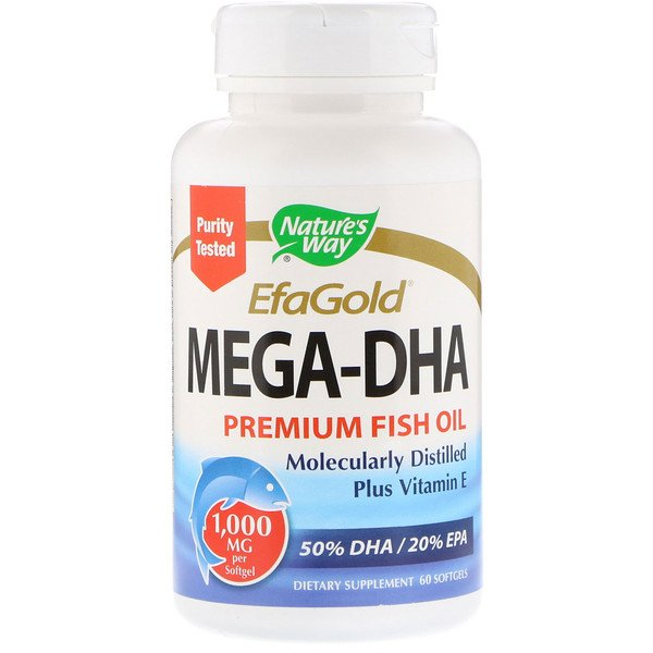 Nature's Way, EfaGold,Mega-DHA,1000毫克,60粒軟膠囊