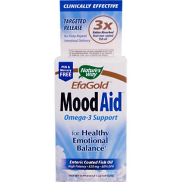 Nature's Way, EFA Gold, Mood Aid, Omega-3 Support, 850 mg, 60 Softgels (Discontinued Item)