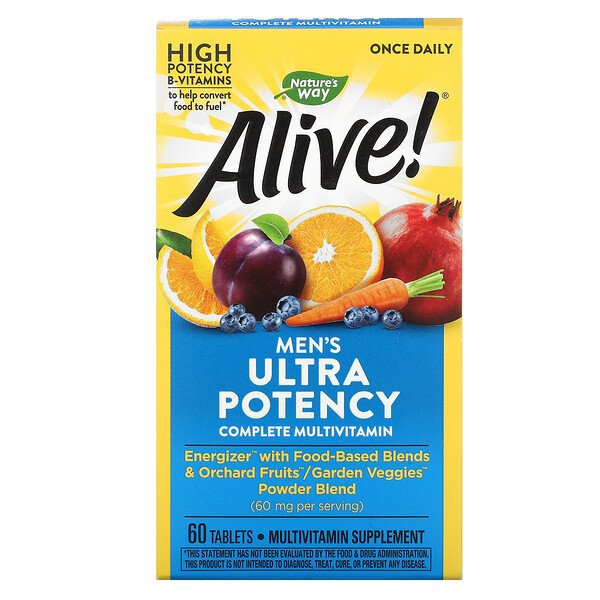 Nature's Way, Alive! Men's Ultra Potency Complete Multivitamin, 60 Tablets