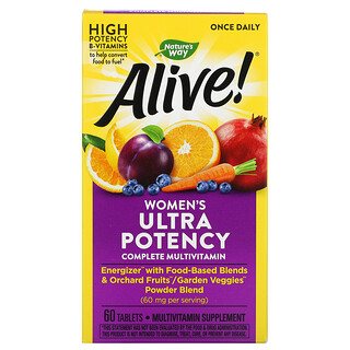 Nature's Way, Alive! Once Daily, Women's Ultra Potency Complete Multi-Vitamin, 60 Tablets