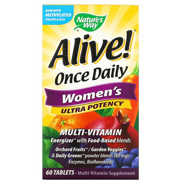Nature's Way, Alive! לשימוש פעם ביום, מולטי-ויטמין עוצמתי במיוחד לנשים, 60 טבליות