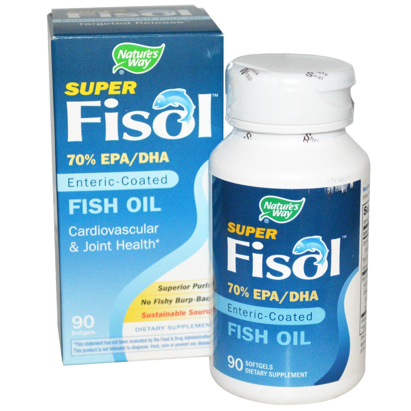 Nature's Way, Super Fisol, рыбий жир с энтеросолюбильным покрытием, 90 мягких капсул