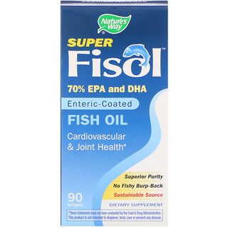 Nature's Way, Super Fisol Fish Oil, Enteric-Coated, 90 Softgels