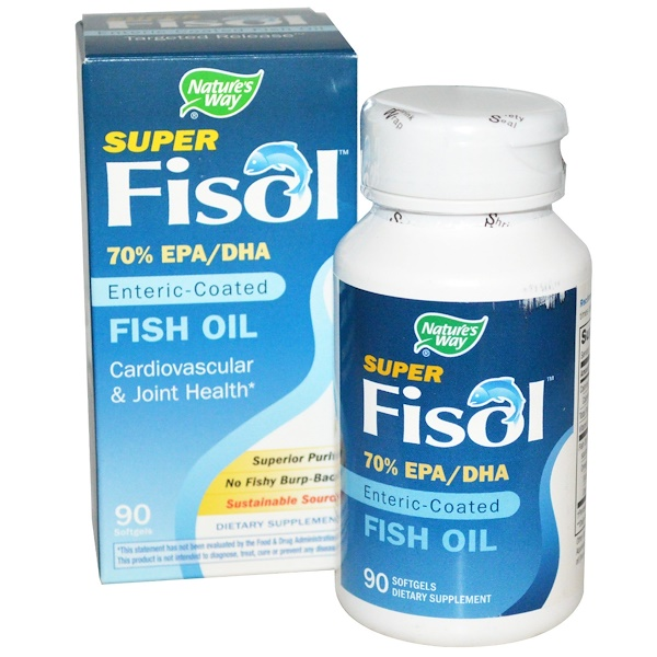 Nature's Way, Super Fisol, Enteric-Coated Fish Oil, 90 Softgels