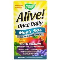 Alive! Once Daily, мультивитамин для мужчин старше 50 лет, 60 таблеток - фото