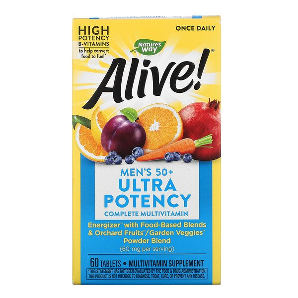 Alive! Men's 50+ Ultra Potency Complete Multivitamin, 60 Tablets