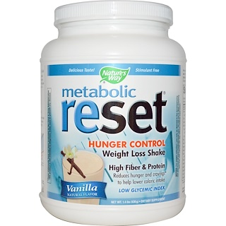 Nature's Way, Metabolic Reset Hunger Control Weight Loss Shake, Powder, Vanilla, 1.4 lbs (630 g)