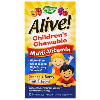 Nature's Way, Alive! Kaubares Multivitaminpräparat für Kinder, Orange + Beerenfrüchte, 120 Kautabletten