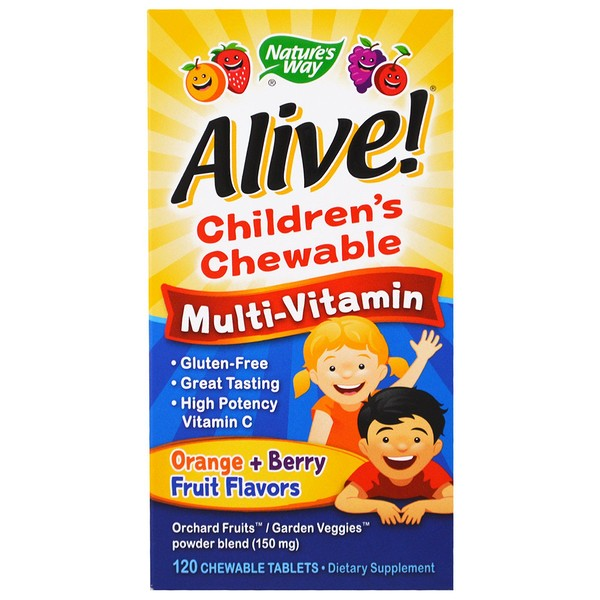 Nature's Way, Alive! Children's Chewable Multi-Vitamin, Orange, Berry Fruit Flavors, 120 Chewable Tablets