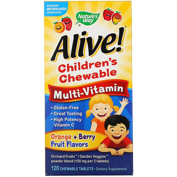 Alive! (アライブ!)子供用チュアブルマルチビタミン、オレンジ + ベリーフルーツフレーバー、120チュアブル粒