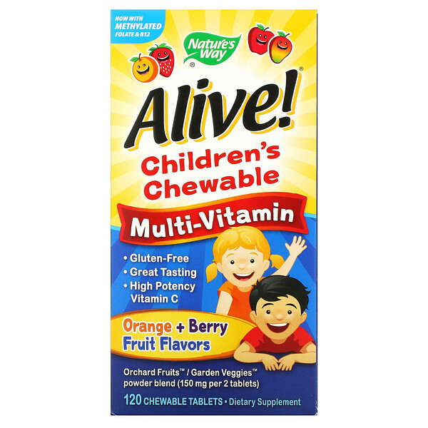 Alive! Children's Chewable Multi-Vitamin, Orange + Berry Fruit, 120 Chewable Tablets