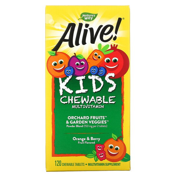 Alive! Kid's Chewable Multivitamin, Orange & Berry, 120 Chewable Tablets