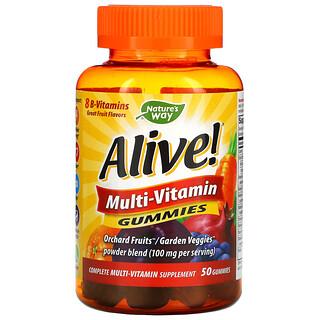 Nature's Way, Alive! Multi-Vitamin Gummies, Great Fruit Flavors, 50 Gummies
