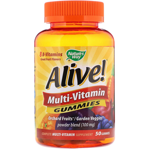 Alive! Multi-Vitamin Gummies, Great Fruit Flavors, 50 Gummies