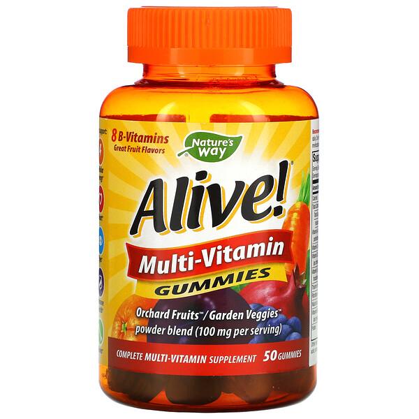 Alive! Gomitas multivitamínicas, deliciosos sabores frutales, 50gomitas