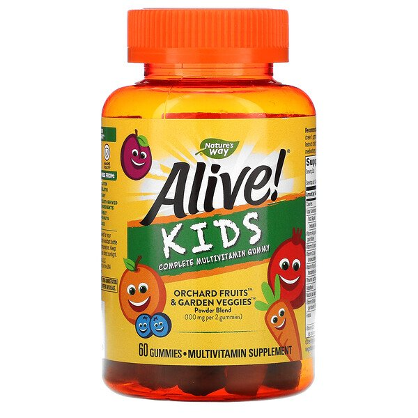 Alive! Kids, Complete Multivitamin, Cherry, Orange & Grape , 60 Gummies