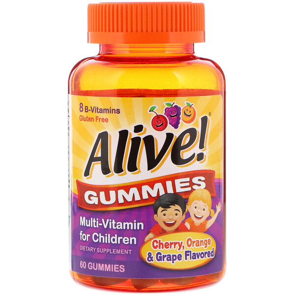 Nature's Way, Alive! Gummies, Multi-Vitamin for Children, Cherry, Orange & Grape Flavored, 60 Gummies