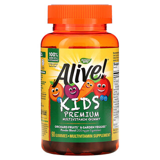 Nature's Way, Alive! Kids, Premium Multivitamin, Cherry, Orange & Grape, 90 Gummies