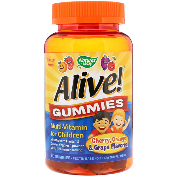 Nature's Way, Alive! Gummies, Multi-Vitamin for Children, Cherry, Orange & Grape Flavored, 90 Gummies