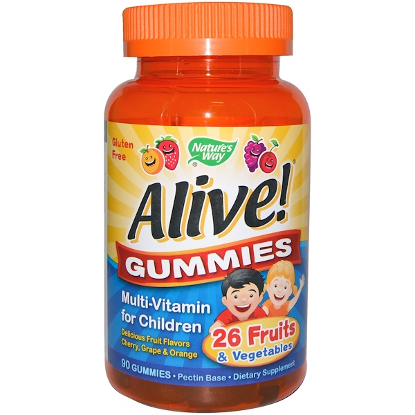 Nature's Way, Alive! Gummies, Multi-Vitamin for Children, Cherry, Grape & Orange, 90 Gummies